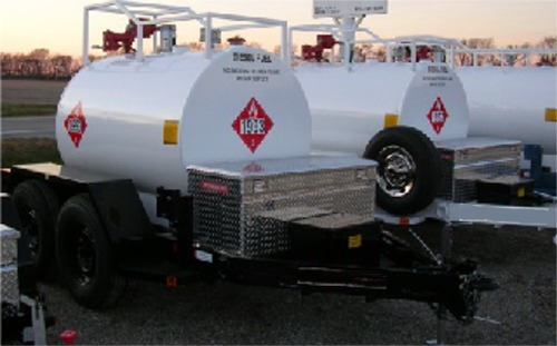 top mounted pump on a 500 gallon tank, with trailer and tool box