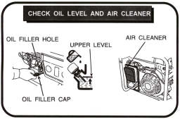 check oil level and air cleaner